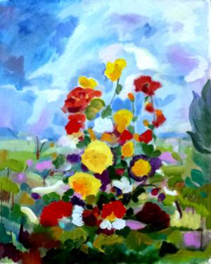 Composizione floreale con paesaggio