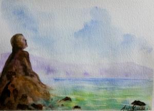 Paesaggio di mare con figura